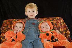 The farmer and his pumpkins Royalty Free Stock Images