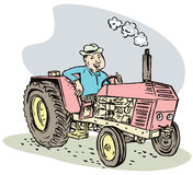 Farmer and his tractor Stock Photo