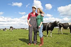 The farmer and his wife. Proudly looking at their cows in the countryside from the Netherlands Stock Photography
