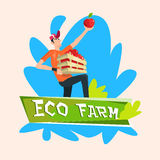Farmer Hold Box With Apple Garden Fruit Harvest Eco Farm Logo Royalty Free Stock Images