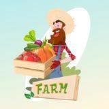 Farmer Hold Box With Vegetables Farming Logo Concept. Flat Vector Illustration Stock Photos