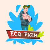 Farmer Hold Pig Butcher Animal Eco Farm Royalty Free Stock Photography
