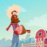 Farmer Hold Pig Leg Pork Butcher Animal Farm Stock Photo