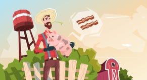 Farmer Hold Pig Pork Butcher Animal Farm Stock Photography
