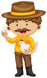 Farmer holding chicken and egg. Illustration Royalty Free Stock Photo