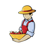 Farmer Holding Chilli Illustration Royalty Free Stock Photography
