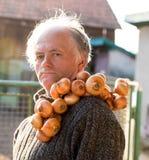 Farmer holding organic onion stock photography