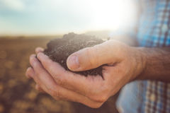 Farmer holding pile of arable soil, close up. Farmer holding pile of arable soil, male agronomist examining quality of fertile agricultural land, close up with Stock Photography