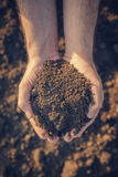 Farmer holding pile of arable soil. And examining its quality on fertile agricultural land, male agronomist preparing land for new seedingg season, close up of Royalty Free Stock Image