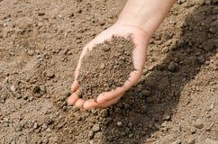 Farmer holding pile of arable soil female agronomist examining q Stock Image