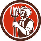 Farmer Holding Pitchfork Circle Retro Royalty Free Stock Images