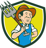 Farmer Holding Pitchfork Shoulder Crest Cartoon Stock Photos