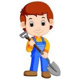 Farmer holding a shovel. Illustration of Farmer holding a shovel royalty free illustration