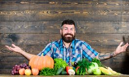 Farmer με τα homegrown λαχανικά Λαχανικών οργανικός συγκομιδών τύπος ύφους της Farmer αγροτικός Χορτοφάγος έννοια τρόπου ζωής στοκ εικόνα
