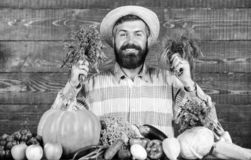 Farmer with homegrown vegetables harvest. Excellent quality harvest. Man with beard proud of his harvest wooden. Background. Organic fertilizers make harvest stock photography