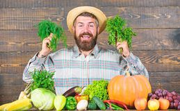 Farmer with homegrown vegetables harvest. Organic pest control. Excellent quality harvest. Man with beard proud of his. Harvest wooden background. Organic stock photos