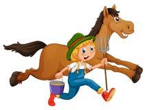 Farmer and horse Stock Photos