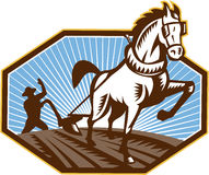 Farmer and Horse Plowing Farm Retro Royalty Free Stock Photo