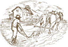 Farmer and horse plowing field. Hand drawn sketched vector illustration of a Farmer and horse plowing the field with barn farmhouse Stock Images