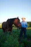 farmer horse smiles vertical Στοκ Εικόνες