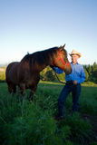 Farmer with Horse - vertical Stock Photos