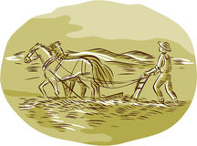 Farmer and Horses Plowing Field Oval Etching Stock Photo
