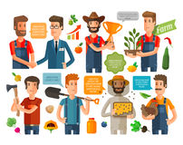 Farmer, horticulturist or farming icons set. vector illustration Royalty Free Stock Photography