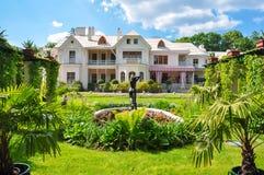 Farmer house in Alexandria park in Peterhof, Saint Petersburg, Russia stock images