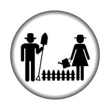 Farmer icon with farmers gardening Royalty Free Stock Image