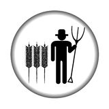 Farmer icon with pitchfork Stock Images