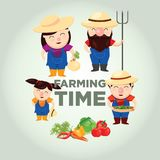 Farmer Family Vector. Farmer icon set, illustration farmer family vector tempalte. Agriculture design template Stock Image
