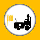 Farmer icon with tractor Stock Images