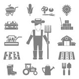 Farmer Icons Set Stock Images