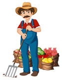Farmer. Illustration of a farmer and vegetables Stock Photography