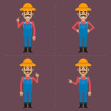 Farmer indicates in different poses Stock Image