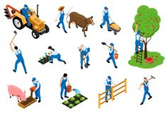 Free Farmer Isometric Icons Set Royalty Free Stock Photography - 156680027