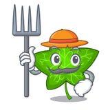 Farmer ivy leaf isolated on character cartoon. Vector illustration stock illustration