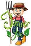 Farmer Joe ith text. Illustration Royalty Free Stock Photo