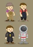 Farmer Kitchen Helper Priest Astronaut Vector illustration Stock Photo