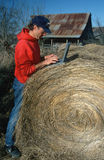 Farmer with laptop computer on hay bale Stock Images