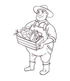 Farmer lineart vector character. Cartoon cute fat man in hat holding box of vegetables in hands vector illustration