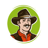 Farmer logo or label. Portrait of happy American cowboy in hat. Cartoon vector illustration Stock Photography