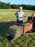 Farmer Making Hay Bales Stock Photos