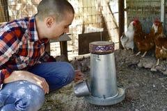 Farmer man feeding the hens Royalty Free Stock Photo