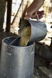 Farmer man filling a feeder in a henhouse Royalty Free Stock Photos