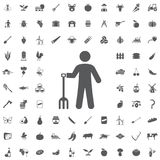 Farmer man with garden forks icon. On the white background. Set of farmer icons Royalty Free Stock Photos