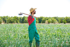 Farmer man with hoe looking at his field Royalty Free Stock Photo