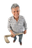 Farmer man with a hoe Royalty Free Stock Image