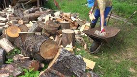 Farmer man load chopped wood to rusty barrow. 4K stock footage