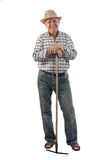 Farmer man with a rake Royalty Free Stock Photography